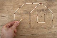 Haus gemacht vom Match Stockfoto