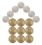 Haus gemacht von den russischen Münzen Stockbild