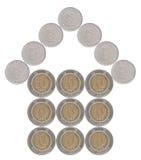 Haus gemacht von Hong- Kongmünzen Stockfoto