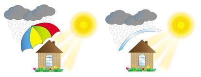 Haus geschützt durch einen Regenschirm Lizenzfreie Stockfotos