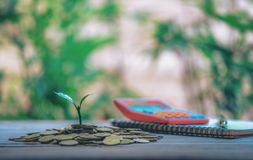 Haus gesetzt auf M?nzen Notizbuch und Pen Prepare Planning Savings Money von den M?nzen, zum eines Hauptkonzeptes f?r Eigentums-L stockbilder