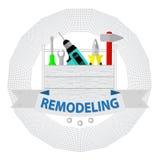 Haus gestalten Werkzeuge um Logohauptreparaturservice Hausreparatur-Firmenlogo Stockbild