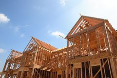 Haus-Holzrahmen Stockfoto
