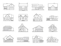 Haus-Ikonen-Ebenen-Satz stock abbildung