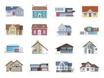 Haus-Ikonen flach Lizenzfreie Stockbilder