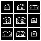 Haus-Ikonensatz des Vektors schwarzer Stockfotos