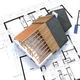 Haus im Aufbau und im Blau lizenzfreies stockbild