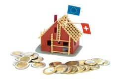Anleihenumwandlung von Schweizer Franken zu Euros Stockbild
