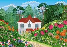 Haus im Garten Lizenzfreie Stockbilder
