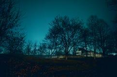 Haus im Nebel nachts im Garten, Landschaft des Geisthauses im dunklen Wald lizenzfreies stockfoto