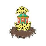 Haus im Nest eines Vogels Stockbilder