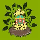Haus im Nest eines Vogels Lizenzfreies Stockfoto