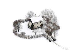 Haus im Schnee Stockfoto