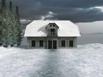 Haus im schneebedeckten Tal Lizenzfreie Stockfotografie
