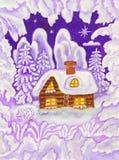 Haus im Schneefeld, malend Lizenzfreie Stockbilder