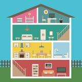 Haus im Schnitt Ausführlicher moderner Hausinnenraum Stockfotos