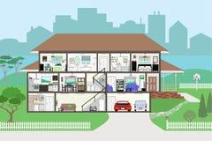 Haus im Schnitt mit in hohem Grade ausführlichen Räumen EPS8 stock abbildung
