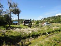 Haus im Wald stockfotografie