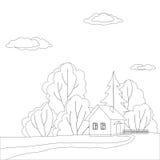 Haus im Wald, Konturen Stockfotografie
