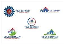 Haus, Immobilien, Gebäude, Landschaft, Land, Logo, Design, Vektor Stockbild
