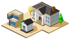 Haus-isometrischer Vektor Stockbilder