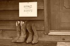 Haus ist, wo Ihre Stiefel sind Stockbild