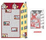 Haus- Labyrinth für die Kinder (hart) Stockbild