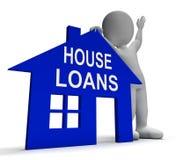 Haus leiht zeigt nach Hause das Ausborgen von Rückzahlungen aus Stockbilder
