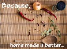 Haus machte Nahrung ist besser für Sie lizenzfreie stockfotografie