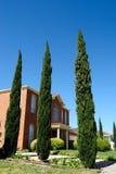 Haus mit Bäumen Stockbild
