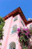 Haus mit blühendem Baum Stockfoto