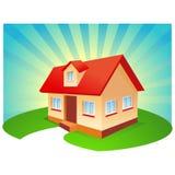 Haus mit blauem Sonnendurchbruchhintergrund vektor abbildung