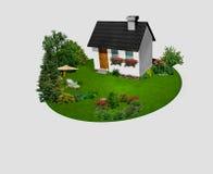 Haus mit Blumen und Bäume auf dem Kreis arbeiten im Garten lizenzfreie abbildung