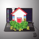 Haus mit dem Geld auf einem Computer Ikonengrau Stockfoto