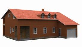 Haus mit dem roten mit Ziegeln gedeckten Dach getrennt auf Weiß stockfotografie