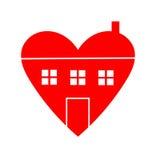 Haus mit der Herz-Ikone lokalisiert auf weißem Hintergrund Stockfotografie