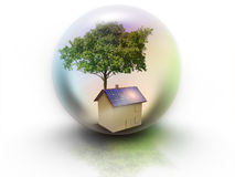 Haus mit der Sonnenenergie, zum des Geldes zu verdienen Stockbilder