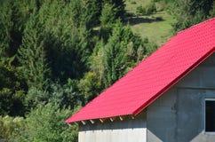 Haus mit einem Dach hergestellt von den festen Blechtafeln, geformt wie ein altes bis Stockfotografie