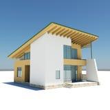 Haus mit einem grünen Dach Lizenzfreies Stockfoto