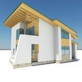 Haus mit einem grünen Dach Stockfotografie