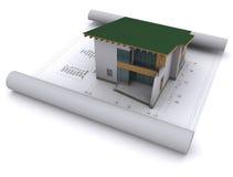 Haus mit einem grünen Dach Stockfoto