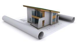 Haus mit einem grünen Dach ist auf dem Aufbau Drachme Stockfotografie