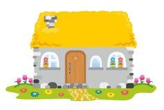 Haus mit einem Strohdach Lizenzfreies Stockfoto