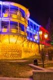 Haus mit einem traditionellen Balkon in Tiflis Alte Stadt Stockfotografie