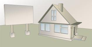 Haus mit einem Werbungsplakat lizenzfreie stockbilder