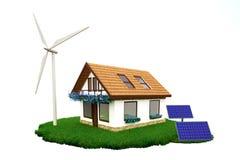 Haus mit erneuerbarer Energie Stockfotografie