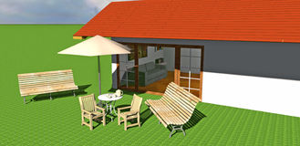 Haus mit Garten Lizenzfreie Abbildung