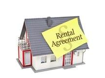 Haus mit gelbem Aufkleber und Mietvertrag lokalisiert stock abbildung