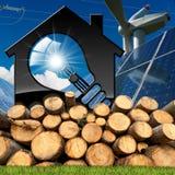 Haus mit Glühlampe und erneuerbaren Ressourcen Stockfotografie
