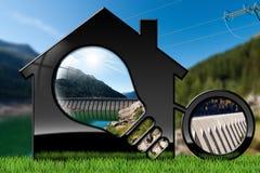 Haus mit Glühlampe und hydroelektrischer Energie stock abbildung